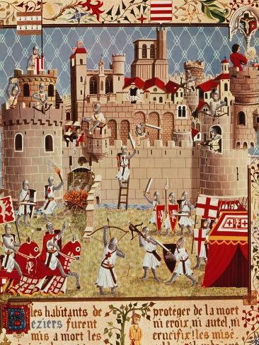 massacre of citizens of beziers france in 13th century albigensian crusade ordered by pope. Black Bedroom Furniture Sets. Home Design Ideas