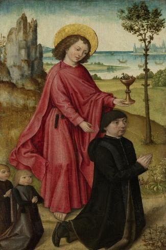 Donor and His Two Sons with Saint John the Evangelist Art Print