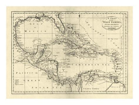 Chart of the West Indies, c.1795 Art Print
