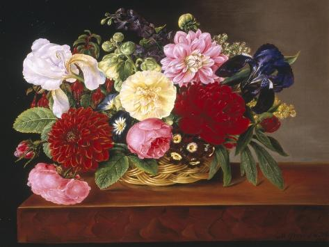 Rich Still Life of Flowers Giclee Print