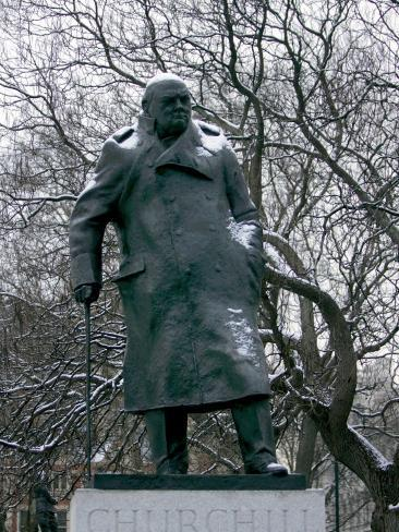 Snow is Seen on a Statue of the Late British Prime Minister Sir Winston Churchill Photographic Print
