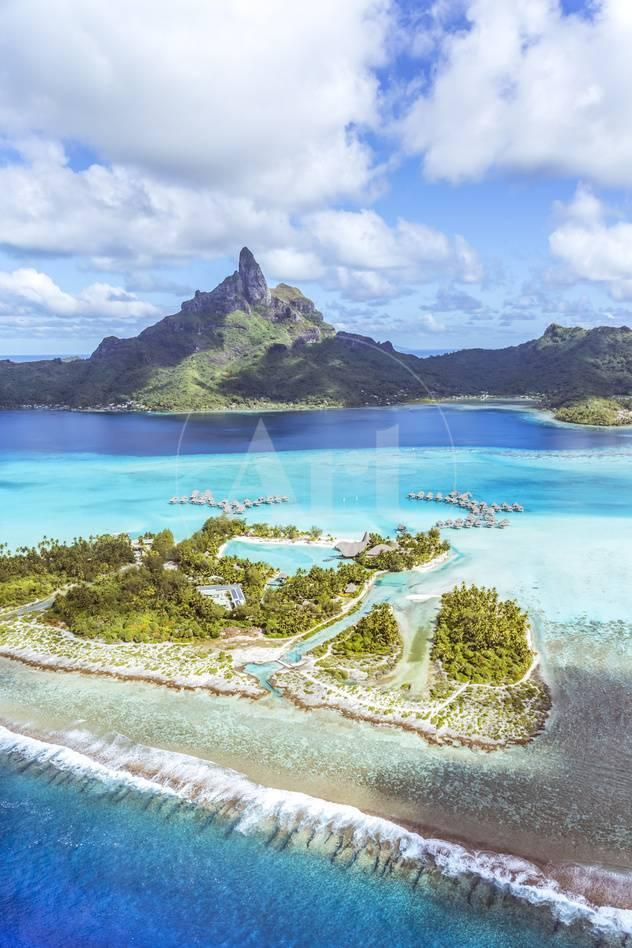 Aerial View Of Bora Bora Island With St Regis And Four Seasons Resorts French Polynesia
