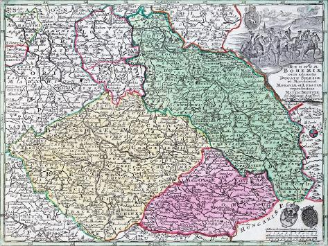 Map of Silesia, from an Atlas Giclee Print