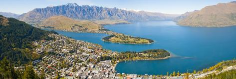 Aerial View of Queenstown, Lake Wakatipu and Remarkable Mountains, Otago Region, New Zealand Photographic Print