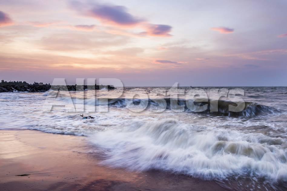 Waves Crashing on Negombo Beach at Sunset, West Coast of Sri Lanka, Asia