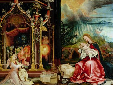 Nativity and Concert of Angels from the Isenheim Altarpiece, Central Panel Giclee Print
