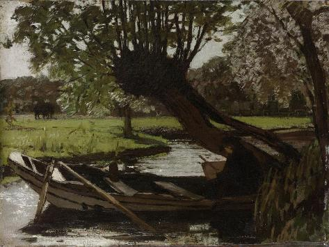 Boat with a Pollard Willow Art Print