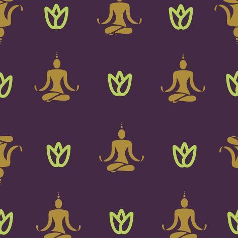 Vector Design Yoga Pose Pattern. Oriental Theme Yogi Background Image. Art Print