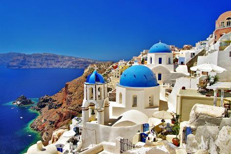 Amazing Santorini - Travel In Greek Islands Series アートプリント