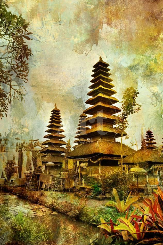Balinese Temple - Artwork In Painting Style Print by Maugli-l - at ...