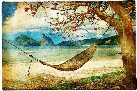 Tropical Scene- Artwork In Painting Style Art Print
