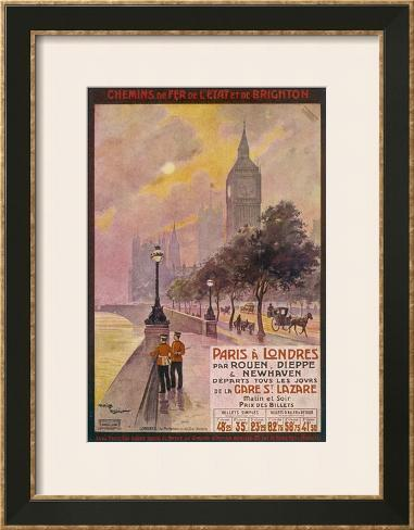 By Rail and Sea from Paris to Brighton or London Featuring the Embankment and Big Ben 6 of 8 Framed Art Print