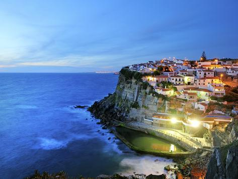Azenhas Do Mar at Night, Near Sintra, in Front of the Atlantic Ocean. Portugal Photographic Print