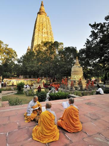 Monks Praying at the Buddhist Mahabodhi Temple, a UNESCO World Heritage Site, in Bodhgaya, India Photographic Print