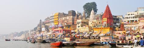 The Ghats Along the Ganges River Banks, Varanasi, India Photographic Print