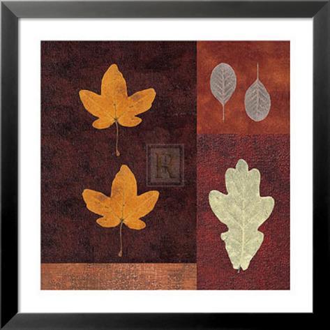 Amber Leaves I Lamina Framed Art Print