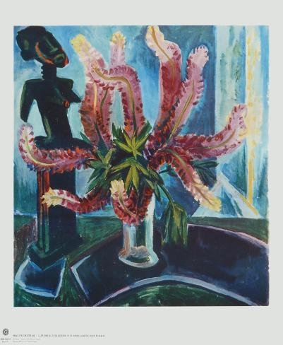 Still Life - Lupines with African Figure Collectable Print