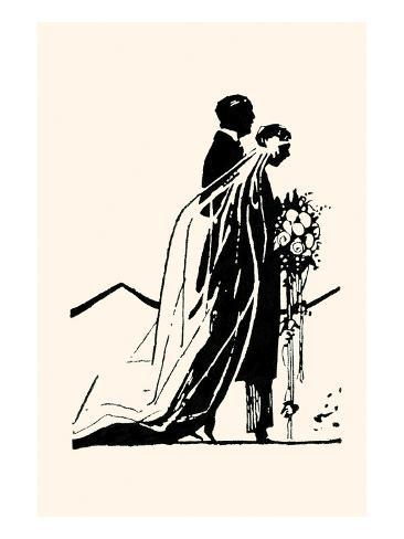 Couple Side by Side Moving Toward a Wedding Ceremony Art Print