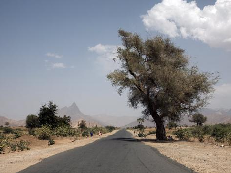 An Empty Road and the Barren Landscape of Western Eritrea, Africa Photographic Print