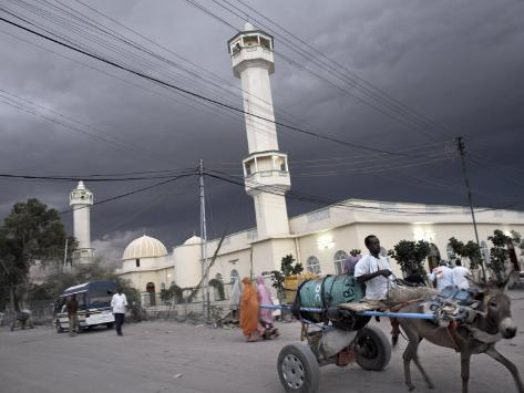 Storm Clouds Gather over a Mosque in the Center of Hargeisa, Capital of Somaliland, Somalia, Africa Photographic Print