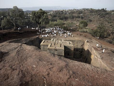 Sunday Mass Celebrated at the Rock-Hewn Church of Bet Giyorgis, in Lalibela, Ethiopia Photographic Print