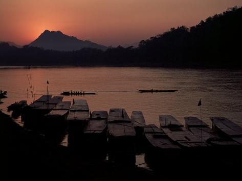 Sunset over the Mekong River, Luang Prabang, Laos, Indochina, Southeast Asia Photographic Print