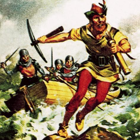 William Tell, the Swiss Patriot, Jumping from a Boat on Lake Lucerne Giclee Print