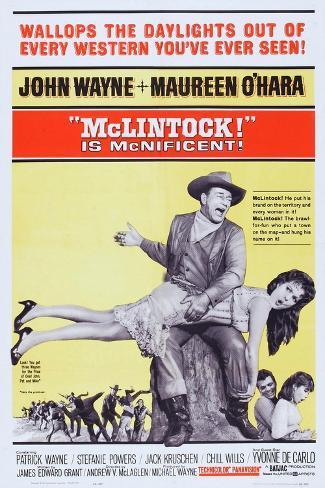 Mclintock!, John Wayne, Maureen O'Hara, Patrick Wayne, Stefanie Powers, 1963 Art Print