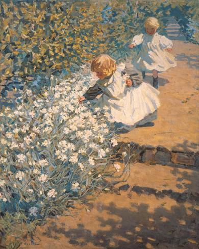 Picking Flowers Sträckt kanvastryck