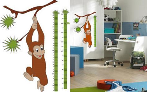 Measuring Tape Growth Chart Monkey 36 Wall Stickers Wall Decal