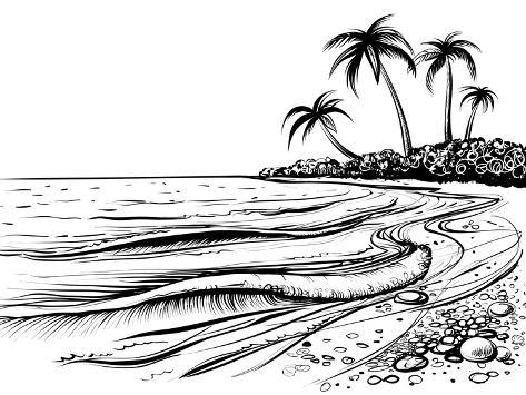 Ocean or sea beach with waves sketch black and white vector illustration of sea shore with palms