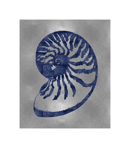 Sea Life - Blue on Silver III Giclee Print