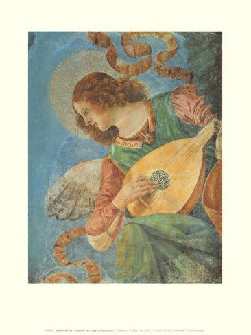 Angel with Lute Art Print