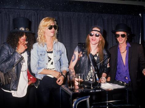 Members of the Rock Group Guns N' Roses Slash, Duff Mckagan, Axl Rose and Izzy Stradlin Premium Photographic Print