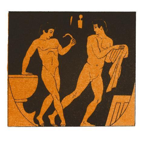 Men Bathing in Ancient Greece Lámina giclée