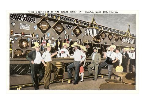 Men in Sombreros at Bar, Tijuana, Mexico Konstprint