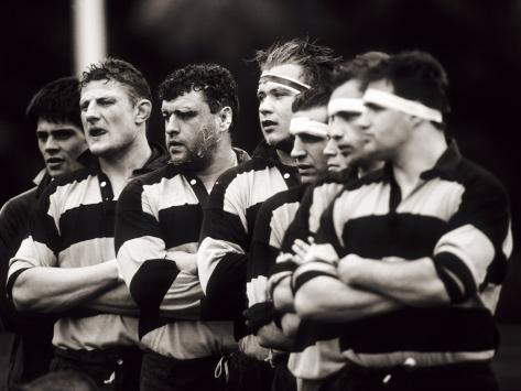 Men's Rugby Team Lined Up Prior to a Game, Paris, France Photographic Print