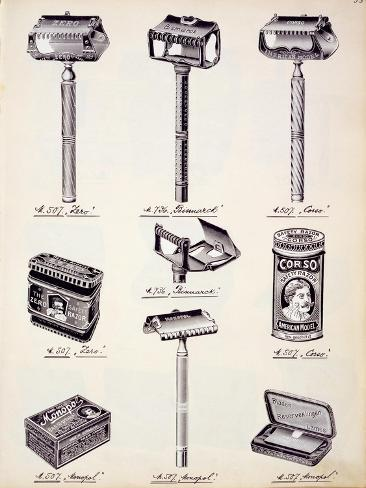 Men's Shaving Equipment, from a Trade Catalogue of Domestic Goods and Fittings, c.1890-1910 Giclee Print