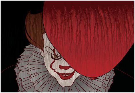 Menacing Clown With Balloon Poster