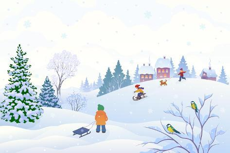 vector cartoon illustration of a winter scene in a small snowy