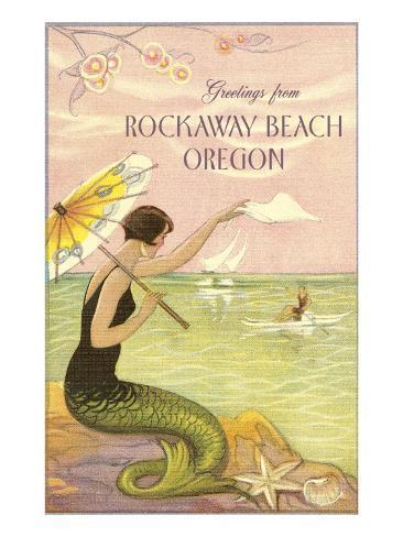 Mermaid Waving from Rockaway Beach, Oregon Art Print