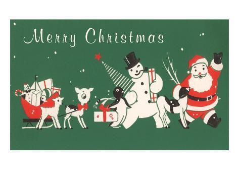 Merry Christmas, Santa, Snowman, Etc. Stretched Canvas Print