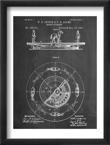 Merry Go Round Patent Framed Art Print