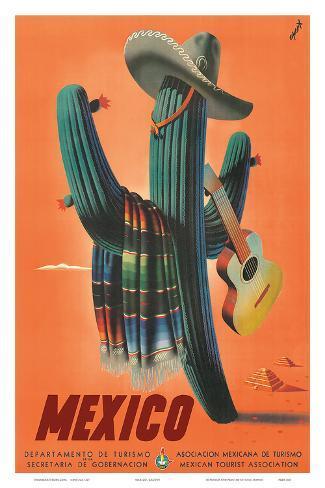 Mexico: Mariachi Cactus, c.1945 Art Print