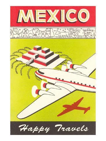 Mexico, Plane over Pyramid, Happy Travels Art Print