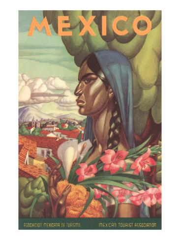 Mexico Poster, Native Woman Art Print