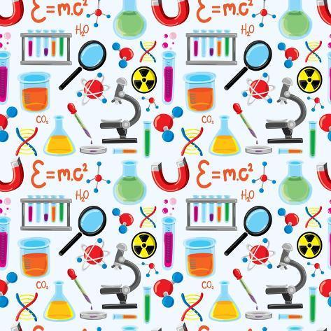 Laboratory Equipment Seamless Background Art Print