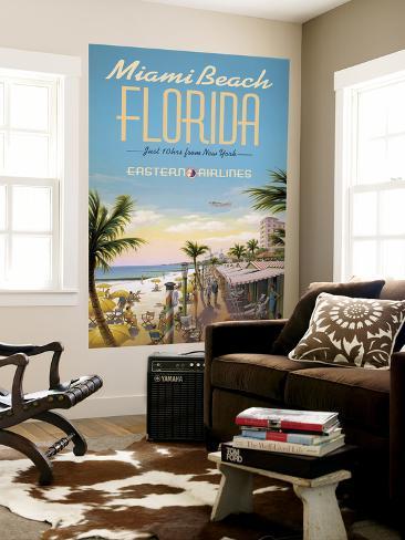 Miami Beach Laminated Oversized Art