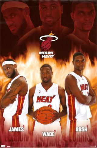 Miami Heat LeBron James Dwyane Wade Chris Bosh Sports Poster Print Poster