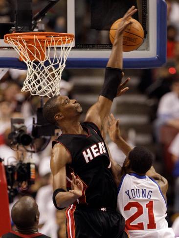 Miami Heat v Philadelphia 76ers - Game Three, Philadelphia, PA - APRIL 21: Chris Bosh and Thaddeus  Photographic Print